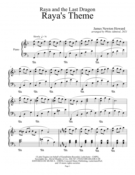 raya and the last dragon (piano suite) | piano sheet music soundtracks  piano plateau